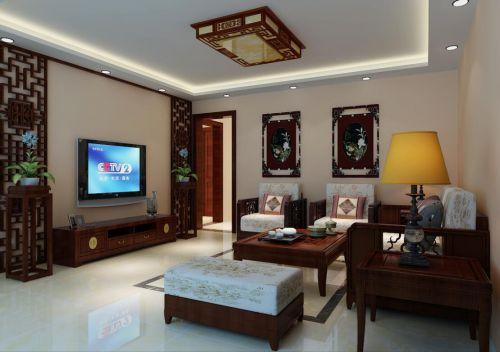 中式风格三居室客厅飘窗装修图片