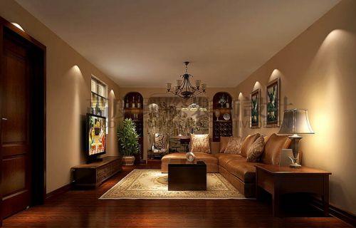 中式风格五居室客厅背景墙装修效果图欣赏