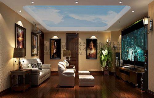 中式风格五居室客厅照片墙装修效果图欣赏