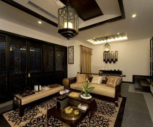 中式风格三居室客厅灯具装修图片
