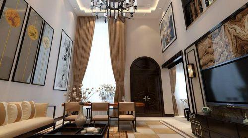 中式风格四居室客厅吊顶装修效果图