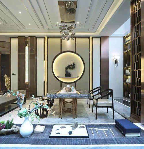 中式风格四居室客厅吊顶装修效果图欣赏