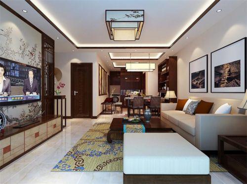 中式风格三居室客厅灯具装修效果图大全