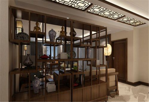 中式风格三居室客厅隔断装修图片