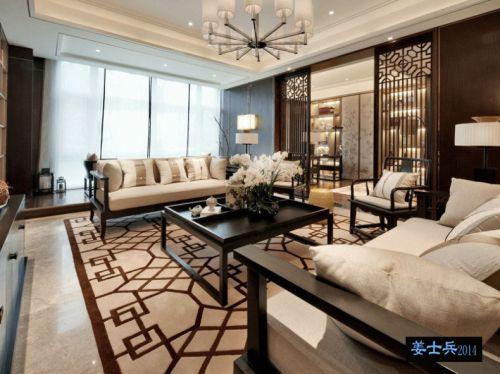 中式风格四居室客厅影视墙装修图片