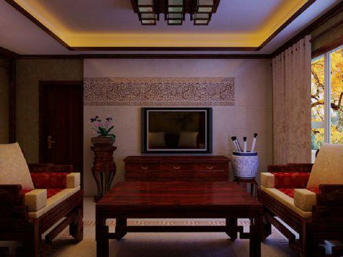 中式古典三居室客厅吊顶装修效果图欣赏