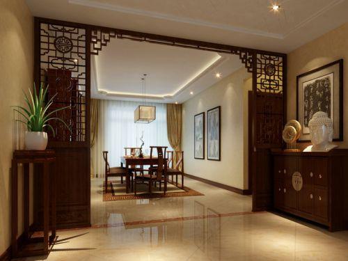 中式风格三居室客厅照片墙装修效果图欣赏