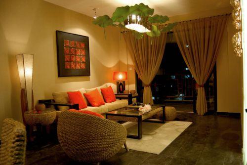 中式风格三居室客厅窗帘装修效果图欣赏