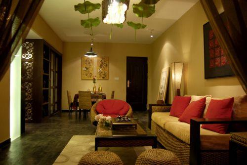 中式风格三居室客厅茶几装修效果图欣赏