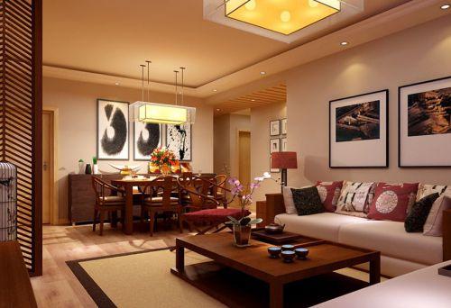 中式风格二居室客厅背景墙装修图片