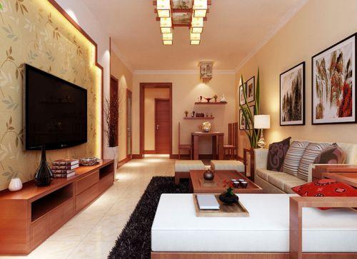 中式风格三居室客厅飘窗装修效果图大全