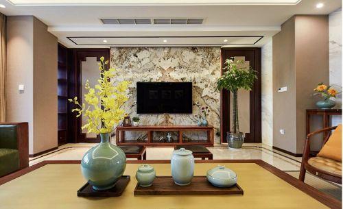 中式古典二居室客厅电视柜装修效果图