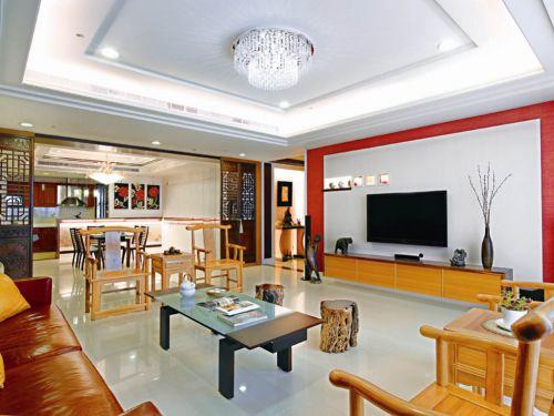 中式风格三居室客厅影视墙装修效果图