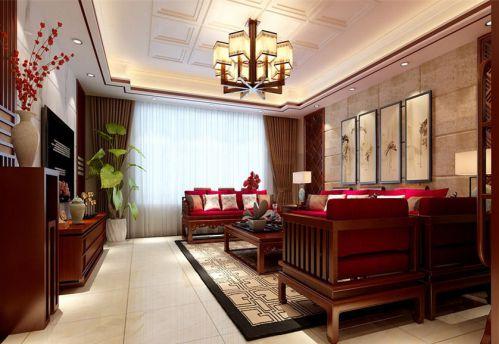 中式风格三居室客厅沙发装修效果图大全