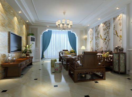中式古典二居室客厅影视墙装修效果图欣赏