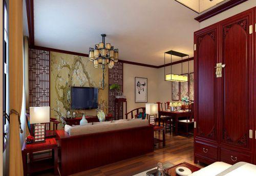 中式风格一居室客厅背景墙装修效果图大全