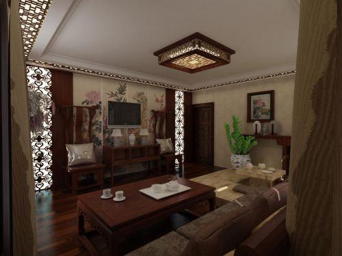 中式风格三居室客厅背景墙装修效果图大全