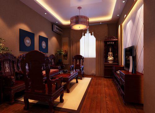 中式风格二居室客厅影视墙装修图片