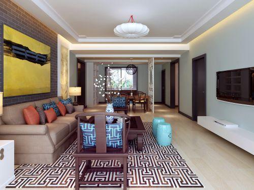 中式风格三居室客厅背景墙装修效果图欣赏