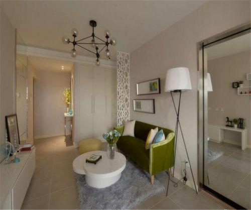 中式风格二居室客厅背景墙装修效果图