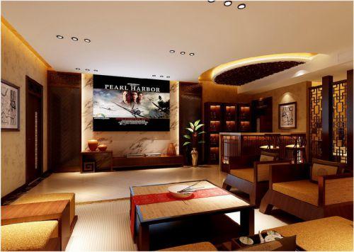 中式风格三居室客厅吊顶装修效果图大全