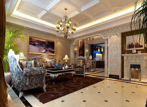 中式风格四居室客厅照片墙装修效果图