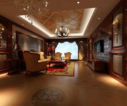 中式风格四居室客厅壁纸装修效果图欣赏