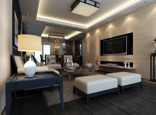 中式风格跃层客厅电视背景墙效果图
