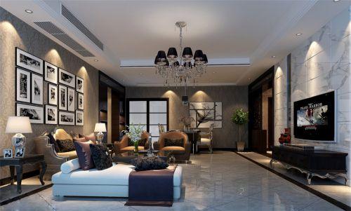 稳重大气欧式风格客厅深色壁纸装修效果图