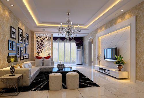 三居室欧式风格大户型客厅装修效果图宽敞明亮