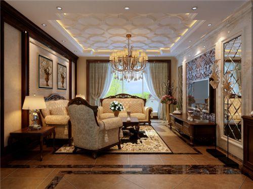 欧式风格三居室客厅茶几装修图片
