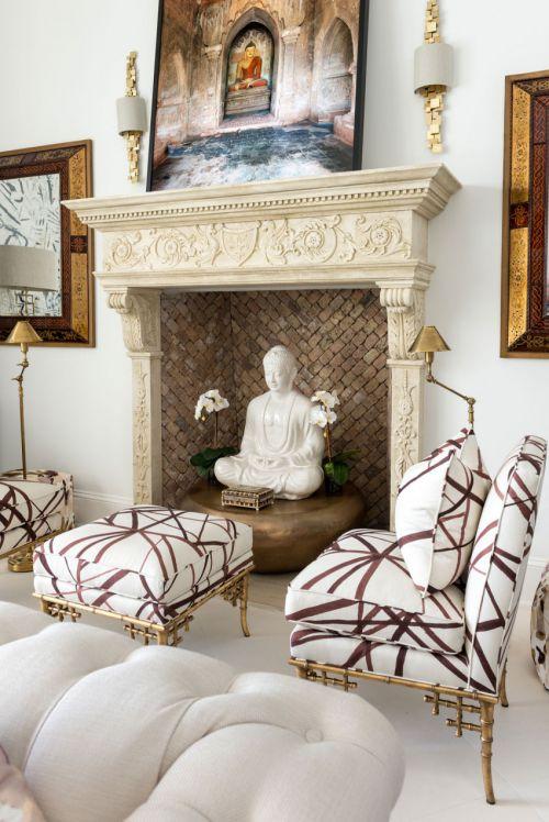 优雅欧式风格客厅壁炉装修设计