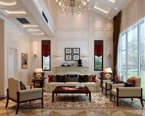欧式新古典别墅客厅装修图片