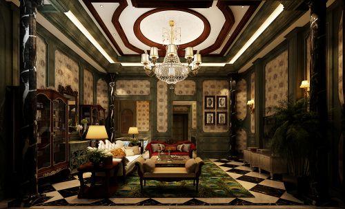 欧式新古典风格别墅客厅装修效果图