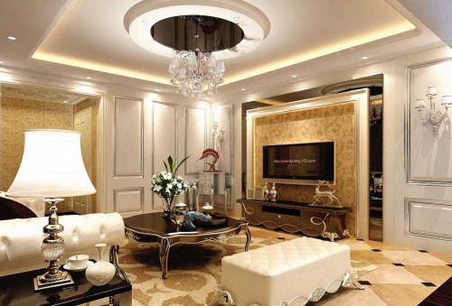 359平欧式别墅客厅吊顶装修效果图