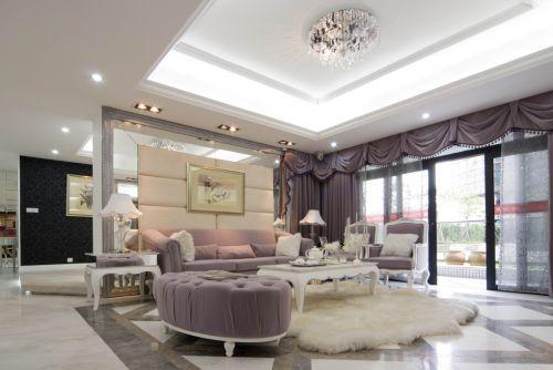紫色大气欧式风格乡村小别墅客厅实景图