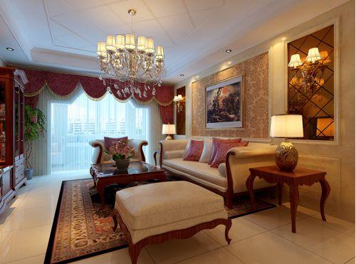 欧式风格三居室客厅装修效果图大全