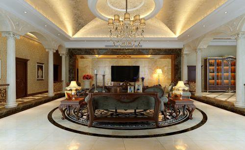 欧式豪华复古风格四居室客厅装修效果图