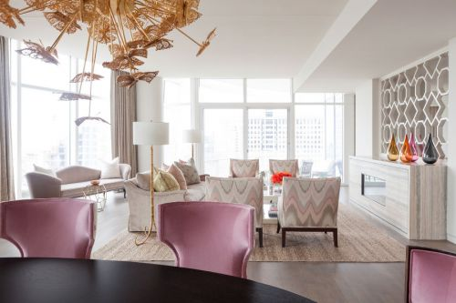 欧式别墅粉色客厅敞亮装修效果图