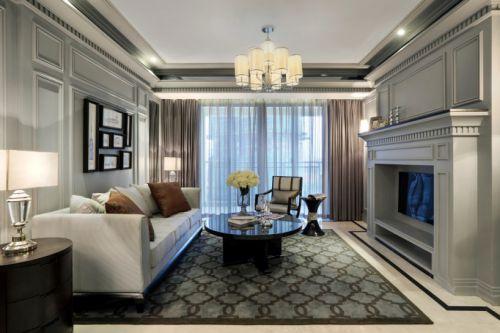 现代欧式风格黑色调客厅装修效果图