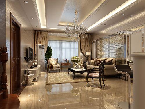 现代欧式风格 三居室客厅装修效果图欣赏
