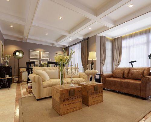 欧式风格温馨暖色调客厅装修效果图沙发茶几布置