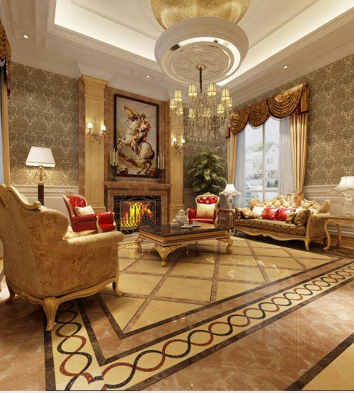 欧式古典风格别墅客厅装修效果图欣赏