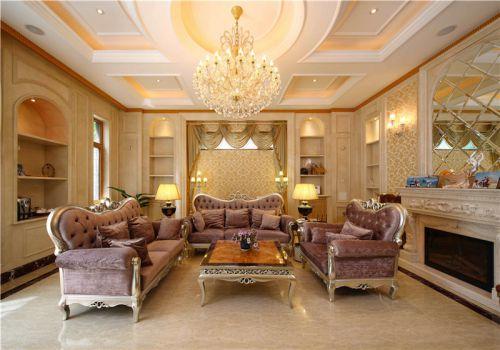欧式混搭现代别墅客厅装修图片