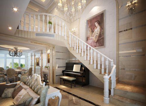 大户型欧式风格复式客厅楼梯装修效果图