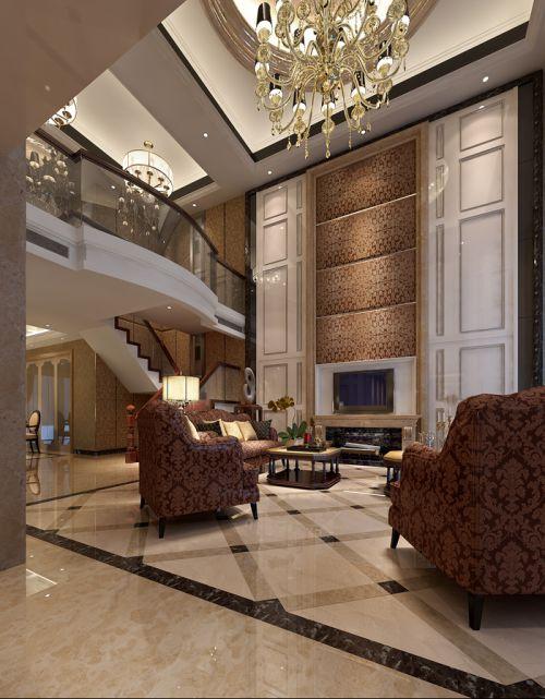 咖色稳重大气别墅客厅楼梯装修效果图