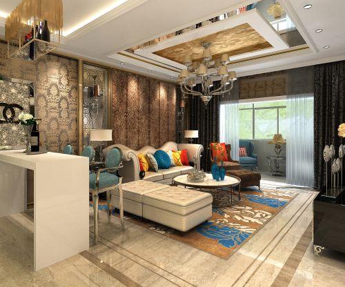 现代欧式风格三居室客厅吊顶装修效果图欣赏