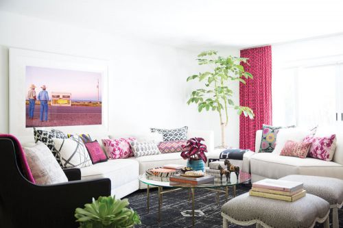 欧美风情粉色软装客厅装修效果图