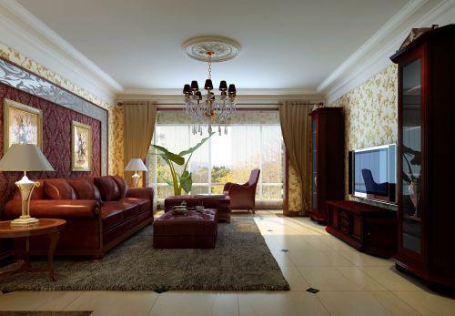 现代欧式二居室客厅装修效果图大全