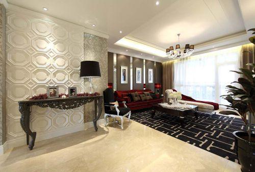 欧式新古典风格二居室客厅背景墙装修效果图